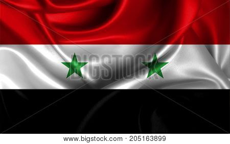 Realistic flag of Syria on the wavy surface of fabric. This flag can be used in design