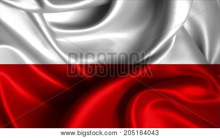 Realistic flag of Poland on the wavy surface of fabric. This flag can be used in design