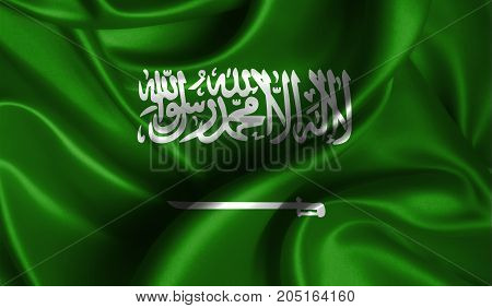 Realistic flag of Saudi Arabia on the wavy surface of fabric. This flag can be used in design