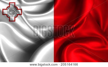 Realistic flag of malta on the wavy surface of fabric. This flag can be used in design