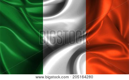 Realistic flag of Ireland on the wavy surface of fabric. This flag can be used in design