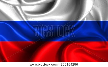 Realistic flag of Russia on the wavy surface of fabric. This flag can be used in design