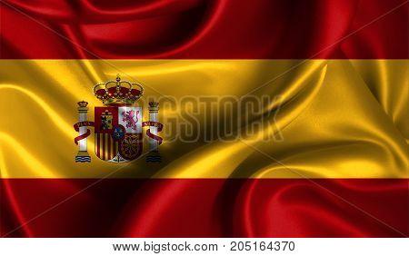 Realistic flag of Spain on the wavy surface of fabric. This flag can be used in design