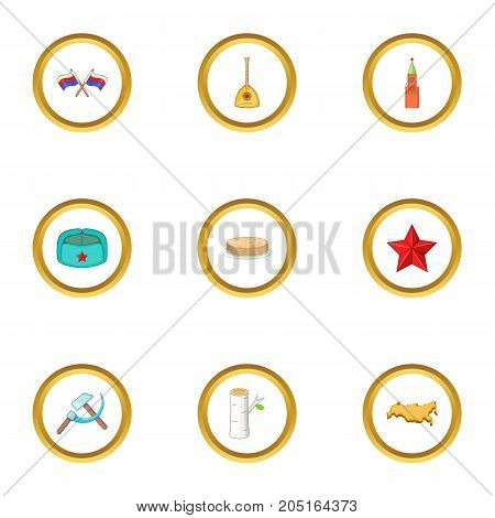 Russia sight icons set. cartoon style set of 9 russia sight vector icons for web design
