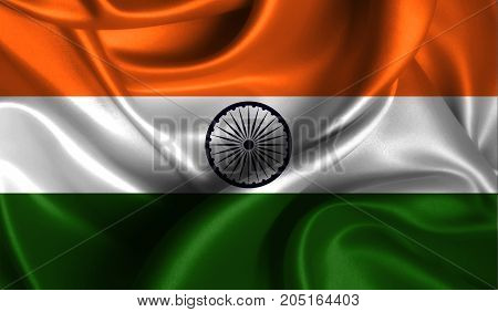 Realistic flag of India on the wavy surface of fabric. This flag can be used in design