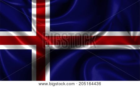 Realistic flag of Iceland on the wavy surface of fabric. This flag can be used in design