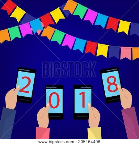 Concept of xmas and new year holidays celebration with colorful flags for Greeting card design. Hands holding mobile phones. Flat illustration.