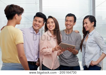 Vietnamese young people meeting their new colleague