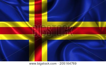 Realistic flag of Aland on the wavy surface of fabric. This flag can be used in design