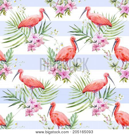 Beautiful seamless pattern with watercolor red bird and flowers