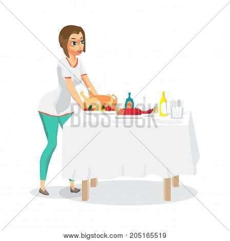 Young woman housewife sets a festive dinner on the table. The girl puts a fried chicken on the table. Flat cartoon vector illustration