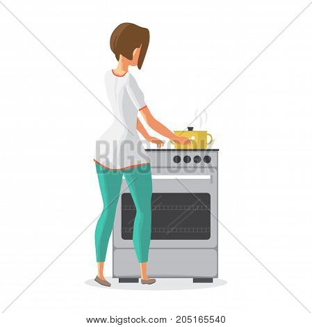 Young woman housewife is cooking soup on the stove. The girl is cooking food in a saucepan. Back view. Flat cartoon vector illustration
