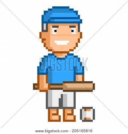 Vector 8-bit pixel art baseball player on white background.