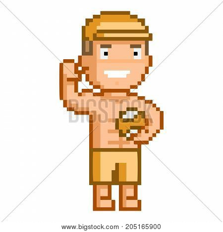 Vector 8-bit pixel art volleyball player on white background.