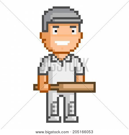 Vector 8-bit pixel cricket player for games and design.