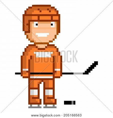 Vector 8-bit pixel art funny hockey player.