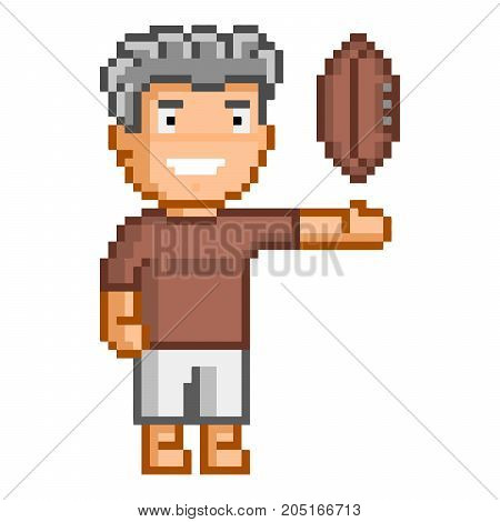 Vector 8-bit pixel art rugby on white background.