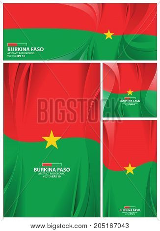 Burkina faso flag abstract colors background. Collection banner design. brochure vector illustration.