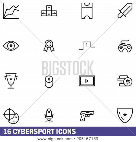 Line icons set of Cybersport gaming, online games. Modern outline pictogram collection. Outline vector concept of mono stroke symbol pack.