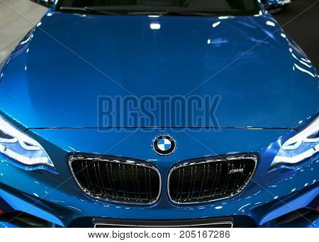 Sankt-Petersburg Russia July 21 2017: Front view of a BMW M2 sports car. M Performance Edition. Car exterior details. Photo Taken at Royal Auto Show July 21
