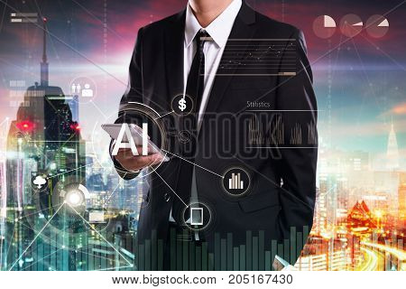 Businessman using smartphone with fintech infographic icon virtual screen . Hi-tech business concept .