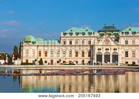 Vienna Austria - October 15 2016: Belvedere Palace And Garden In Vienna. The Main Palace - Upper Bel