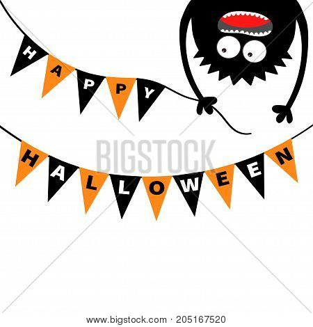 Screaming monster head silhouette. Bunting flags pack Happy Halloween letters. Flag garland. Hanging upside down. Black Funny Cute cartoon baby character. Flat design. White background. Vector