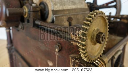 Wide angle closeup of antique gear assembly