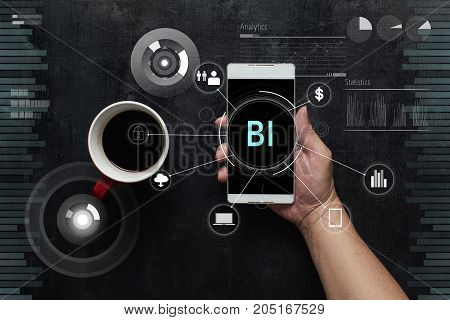 Man using digital device with
