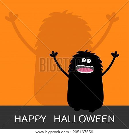 Happy Halloween. Screaming monster silhouette looking up. Wall shadow shade. Two eyes teeth tongue spooky hands. Black Funny Cute cartoon baby character. Flat design. Orange background. Vector