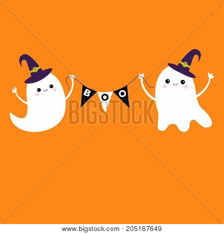 Flying ghost spirit holding bunting flag Boo. Witch hat. Two scary white ghosts. Cute cartoon spooky character. Smiling face hands. Happy Halloween. Orange background Greeting card Flat design Vector