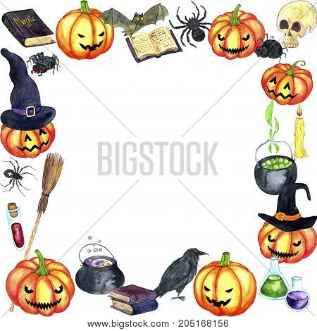 halloween template, acessories of witch, black hat, flying broom and pumpkin, hand drawn illustration, frame for invitation or gift card