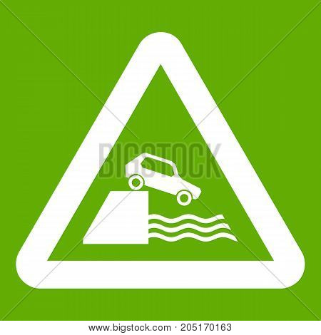 Riverbank traffic sign icon white isolated on green background. Vector illustration