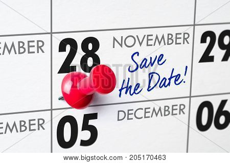 Wall Calendar With A Red Pin - November 28