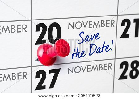 Wall Calendar With A Red Pin - November 20