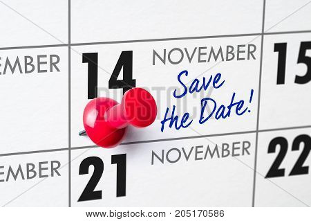 Wall Calendar With A Red Pin - November 14