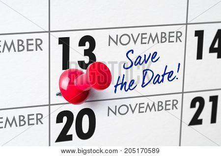 Wall Calendar With A Red Pin - November 13