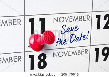 Wall Calendar With A Red Pin - November 11