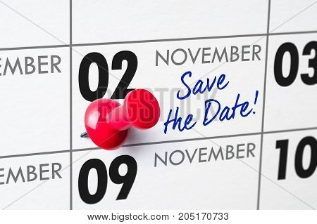 Wall Calendar With A Red Pin - November 02