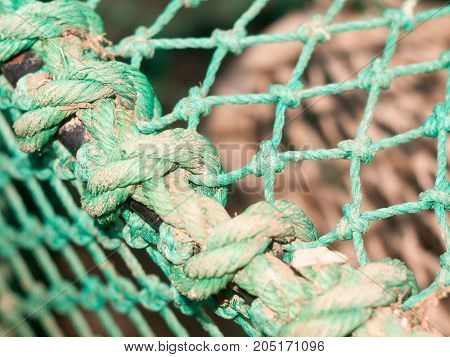 Close Up Of Fishing Green Netting Of Cage