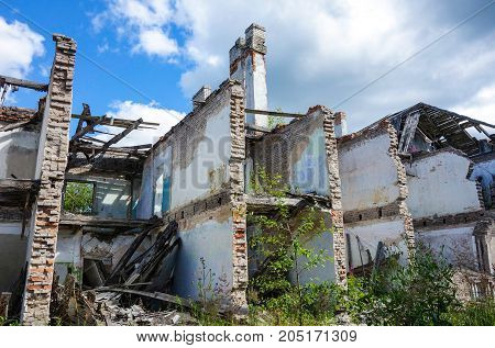 Forgotten mining village with broken down apartment houses