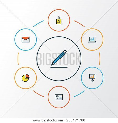 Business Colorful Outline Icons Set. Collection Of Message, Billboard Presentation, Identification Document And Other Elements