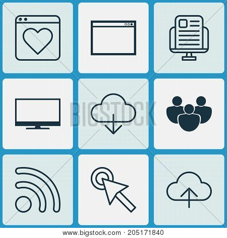 Web Icons Set. Collection Of Display, Wifi, Program And Other Elements