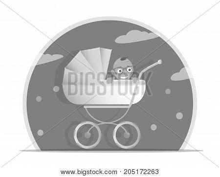 Black and white illustration baby stroller for boys, Isolated on white background. Cartoon pram vector illustration. Trendy style for graphic design, Web site, social media, user interface, mobile app.