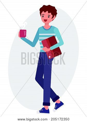 Cartoon Character Design Male Man Hold Coffee Cup Document File