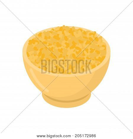 Bulgur In Wooden Bowl Isolated. Groats In Wood Dish. Grain On White Background. Vector Illustration