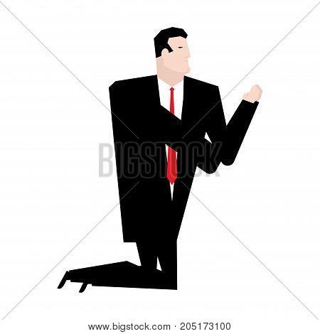 Businessman Prays Isolated. Business Prayer. Vector Illustration