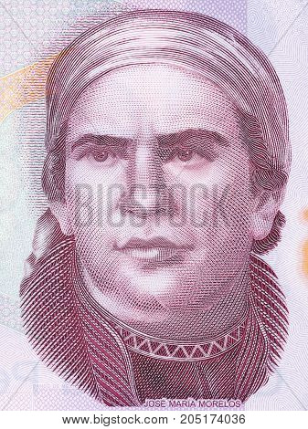Jose Maria Morelos portrait from Mexican money