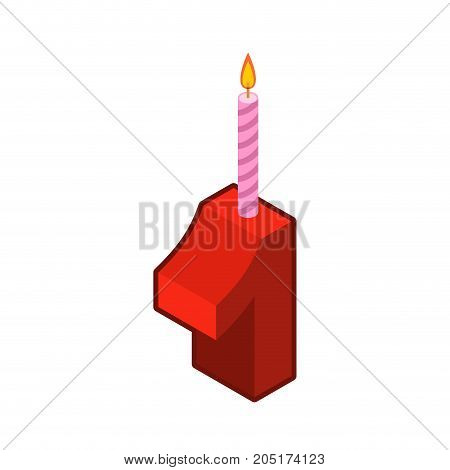 1 Number And Candles For Birthday. One Figure For Holiday Cartoon Style. Vector Illustration