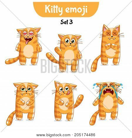 Set kit collection sticker emoji emoticon emotion vector isolated illustration happy character sweet, cute red cat